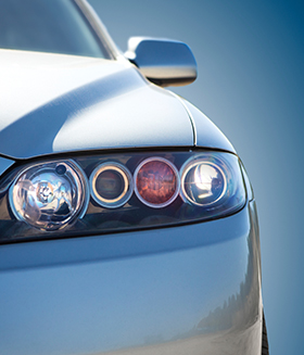 Newly Cleaned Headlights On Car